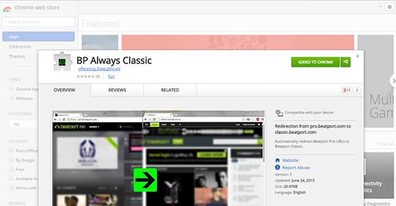 Beatport pro to classic redirect extension for google for Beatport classic house