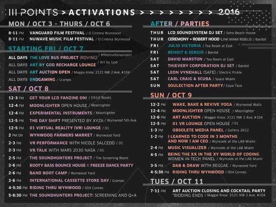 III Points Festival 2016 Activation Schedule  // DeeplyMoved